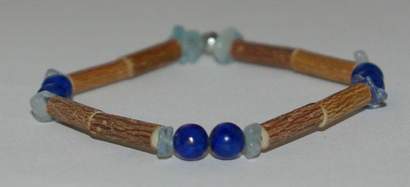 Bracelet de Noisetier et Lapis lazuli / Aigue-marine (baroque) - Taille Femme/Ado