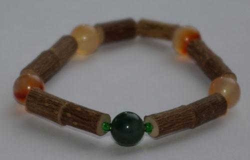 Bracelet de Noisetier et Agate mousse verte / Agate orange - Taille Femme/Ado