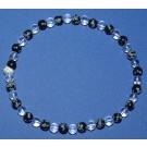 """Bracelet de Cheville """"Pur équilibre"""" : Quartz et Obsidienne flocons de neige"""