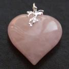 Pendentif Coeur et Ange Quartz rose