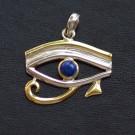 Pendentif Oeil d'Horus lapis lazulis - plaqué or