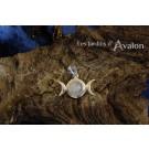 Pendentif Triple lune - avec Pierre de lune arc-en-ciel